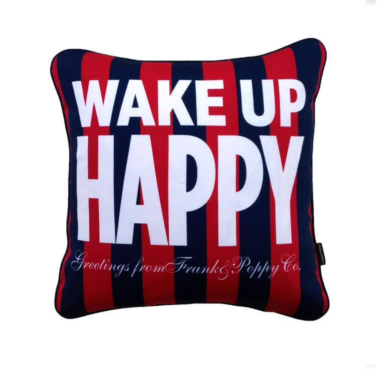 Wake up Happy kudde Röd/Navy